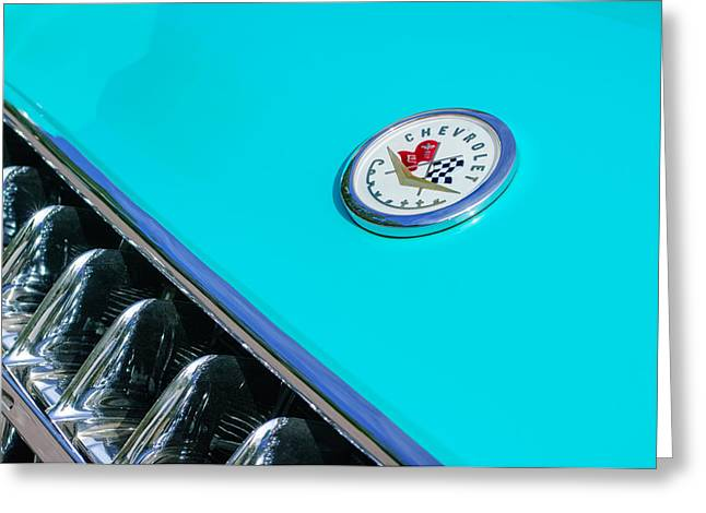 1957 Corvette Greeting Cards - 1957 Chevrolet Corvette Emblem Greeting Card by Jill Reger