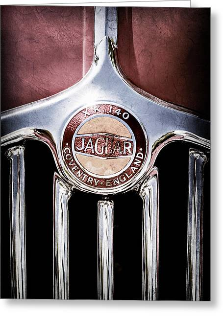 Fix Greeting Cards - 1957 Jaguar Xk140 Mc Fixed Head Coupe Grille Emblem Greeting Card by Jill Reger