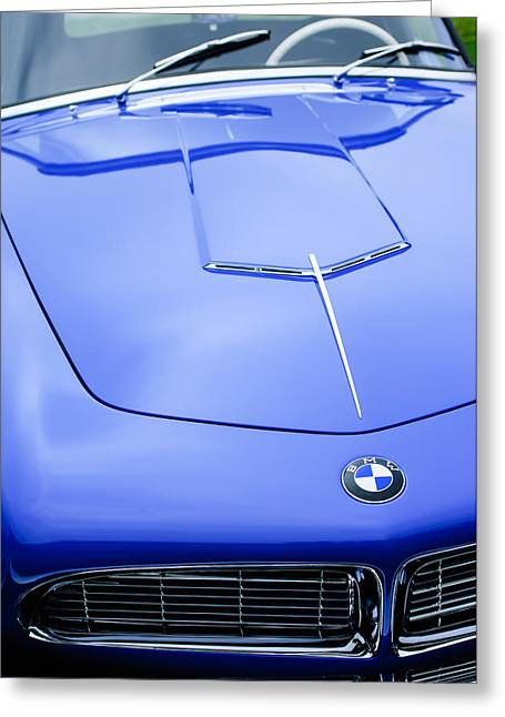 Roadster Grill Greeting Cards - 1958 BMW 507 Series II Roadster Hood Emblem Greeting Card by Jill Reger