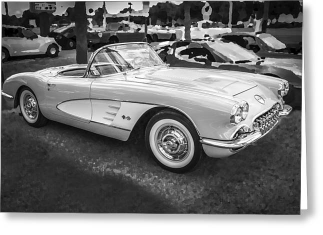 Custom Automobile Greeting Cards - 1958 Chevy Corvette BW Greeting Card by Rich Franco