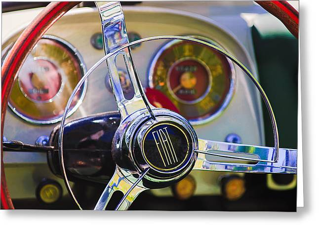 Old Tv Photographs Greeting Cards - 1958 Fiat 1200 TV Sportsman Roadster Steering Wheel Greeting Card by Jill Reger