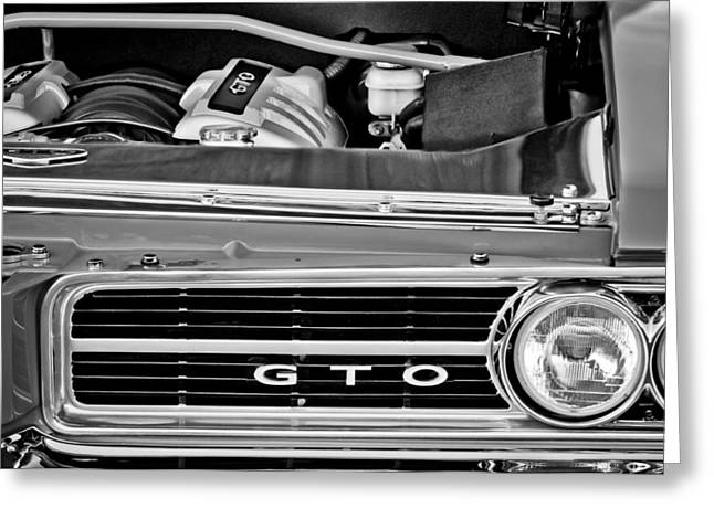 Pontiac Gto Greeting Cards - 1964 Pontiac GTO Grille Emblem - Engine Greeting Card by Jill Reger