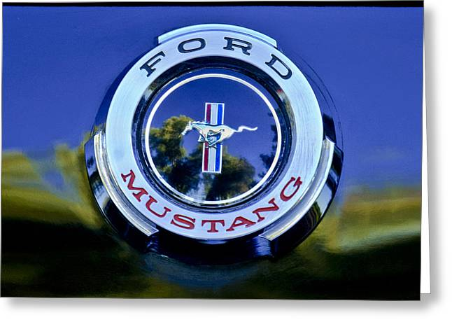 Famous Photographer Greeting Cards - 1965 Shelby prototype Ford Mustang Emblem Greeting Card by Jill Reger