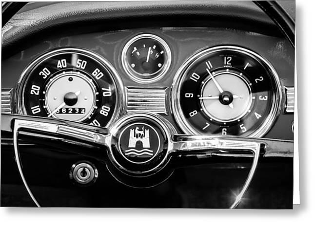 Ghia Greeting Cards - 1966 Volkswagen VW Karmann Ghia Steering Wheel Greeting Card by Jill Reger
