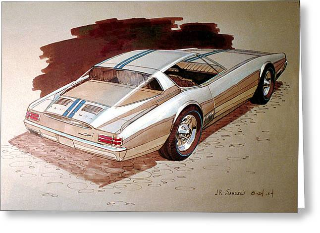 Automotive History Greeting Cards - 1967 BARRACUDA  Plymouth vintage styling design concept rendering sketch Greeting Card by John Samsen