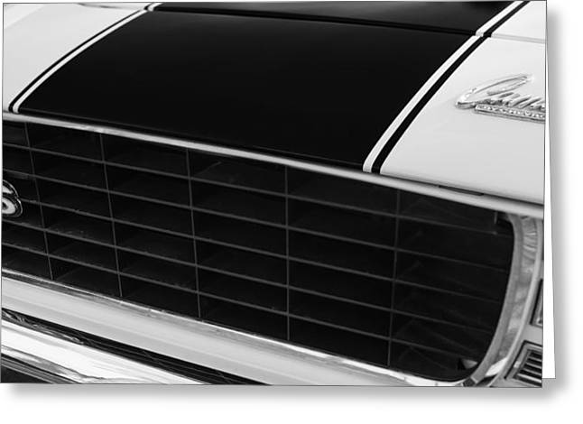 American Muscle Cars Greeting Cards - 1969 Chevrolet Camaro RS-SS Indy Pace Car Replica Grille - Hood Emblems Greeting Card by Jill Reger