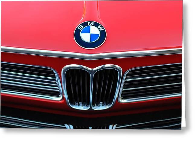 Bmw Emblem Greeting Cards - 1970 BMW 2002 Hood Emblem Greeting Card by Jill Reger