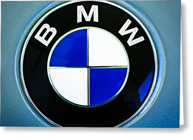 Famous Photographers Greeting Cards - 1972 BMW 2000 TII Touring Emblem Greeting Card by Jill Reger