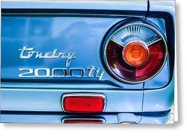 Touring Greeting Cards - 1972 Bmw 2000 Tii Touring Taillight Emblem -0182C Greeting Card by Jill Reger