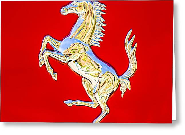 550 Greeting Cards - 1999 Ferrari 550 Maranello Stallion Emblem Greeting Card by Jill Reger