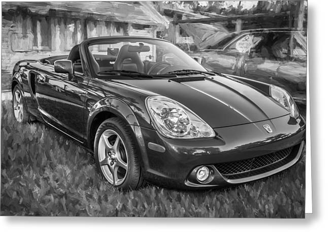 Modify Greeting Cards - 2005 Toyota MR2 Sports Car Painted BW  Greeting Card by Rich Franco