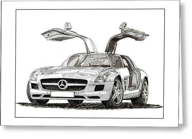 You Of A Greeting Cards - Gull Wing Mercedes Benz S L S Gull-Wing Greeting Card by Jack Pumphrey