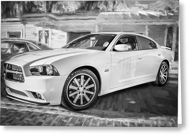 345 Greeting Cards - 2014 Dodge Charger RT Painted BW  Greeting Card by Rich Franco