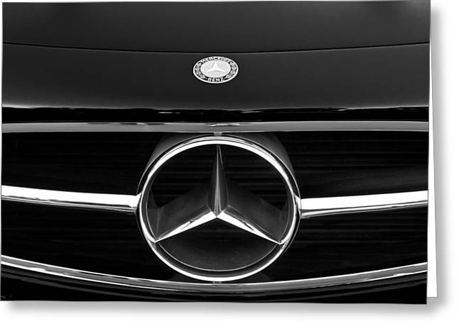 Mercedes Benz 300 Classic Car Greeting Cards - 300 Mercedes-benz Sl Roadster Hood Emblem Greeting Card by Jill Reger