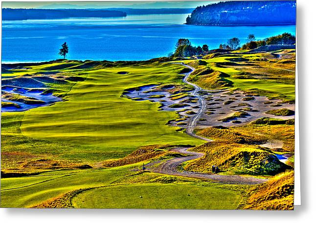 Us Open Greeting Cards - #5 at Chambers Bay Golf Course - Location of the 2015 U.S. Open Tournament Greeting Card by David Patterson