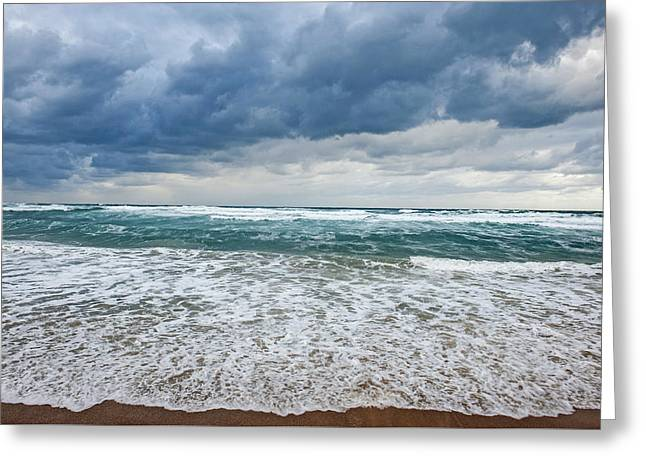 Abstract Beach Landscape Greeting Cards - Ocean Greeting Card by Yaniv Eitan