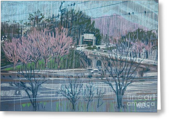 Roadway Drawings Greeting Cards - 75 Overpass Greeting Card by Donald Maier