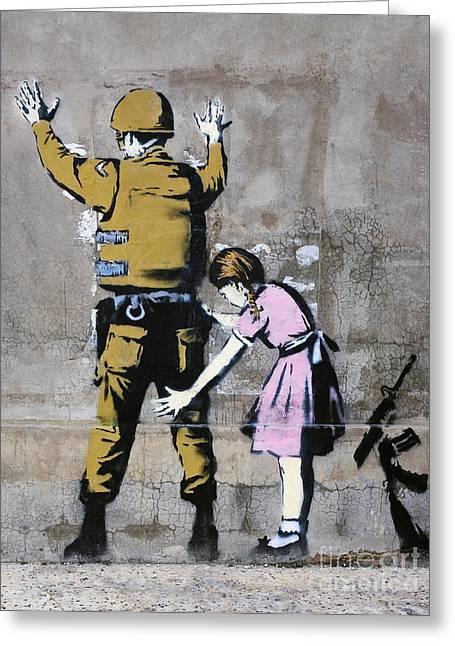 Recently Sold -  - Liberation Greeting Cards - A Banksy Graffiti in Palestine Greeting Card by Roberto Morgenthaler