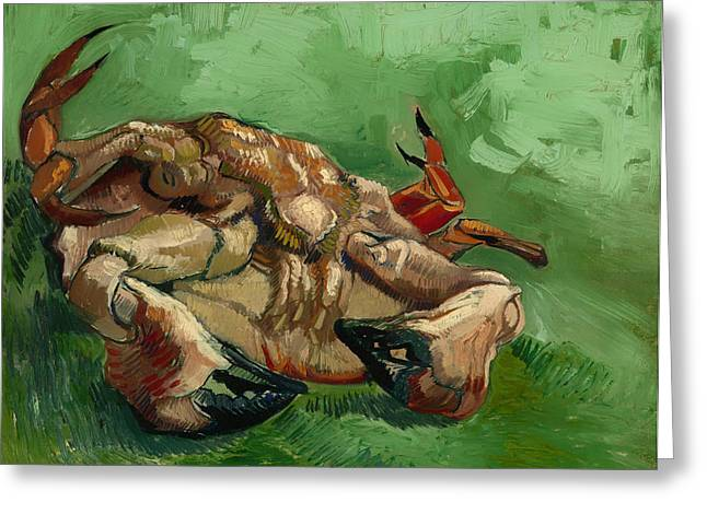 Pincers Greeting Cards - A Crab on its Back Greeting Card by Vincent van Gogh