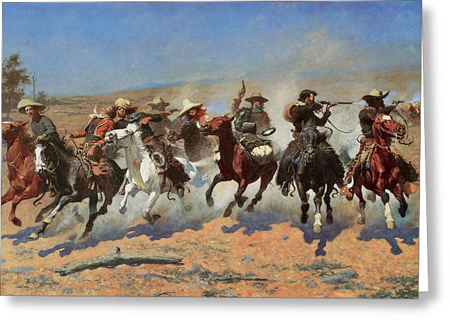 Western Western Art Greeting Cards - A Dash for the Timber Greeting Card by Frederic Remington