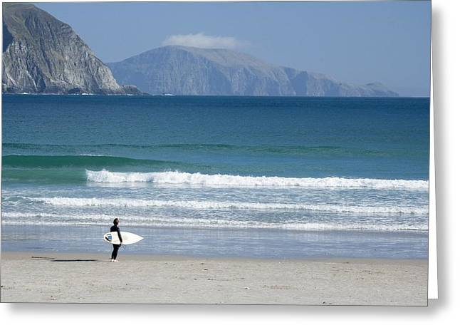 One Young Man Only Greeting Cards - Achill Island, Co Mayo, Ireland Surfer Greeting Card by Gareth McCormack