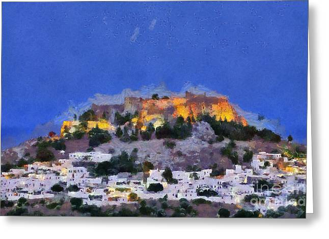 Dodekanissos Greeting Cards - Acropolis and village of Lindos Greeting Card by George Atsametakis