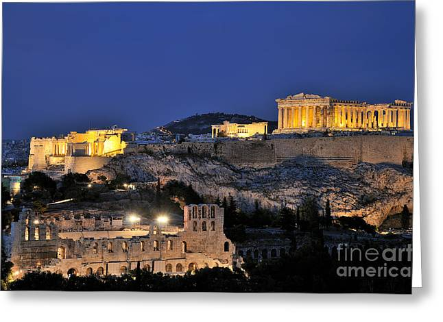 Framed Prints Greeting Cards - Acropolis of Athens during dusk time Greeting Card by George Atsametakis
