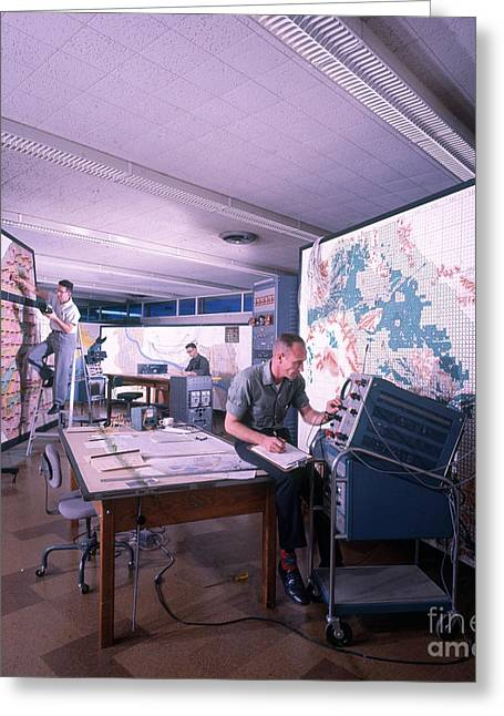 Active Map Room, Early Computers Greeting Card by Joe Munroe