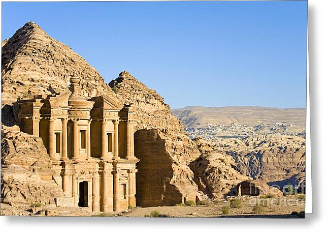 Petra - Jordan Greeting Cards - Ad Deir, Petra, Jordan Greeting Card by Adam Sylvester