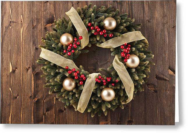 Fir Trees Greeting Cards - Advent Christmas wreath decoration Greeting Card by Ulrich Schade