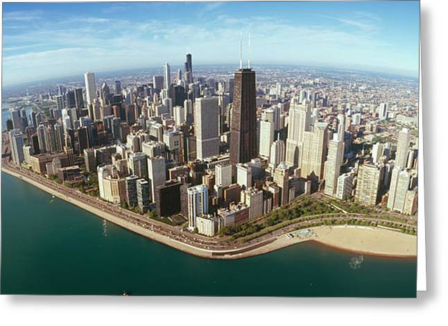View. Chicago Greeting Cards - Aerial View Of A City, Chicago, Cook Greeting Card by Panoramic Images