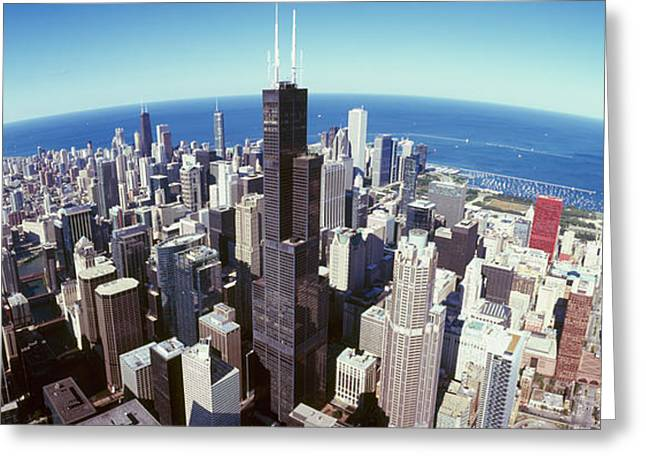 View. Chicago Greeting Cards - Aerial View Of A Cityscape With Lake Greeting Card by Panoramic Images