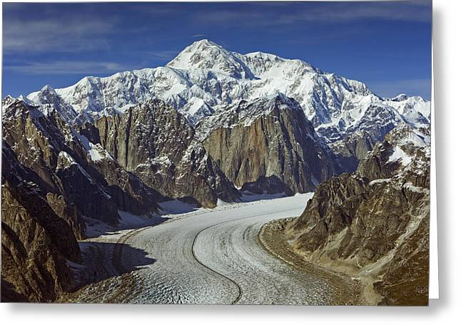 Ruth Gorge Greeting Cards - Aerial View Of Mt. Mckinley With The Greeting Card by Mark Stadsklev