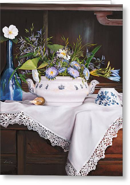 Interior Still Life Paintings Greeting Cards - Afternoon Tea Greeting Card by Danka Weitzen