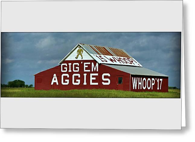 Tamu Greeting Cards - Aggie Barn - Panoramic Greeting Card by Stephen Stookey