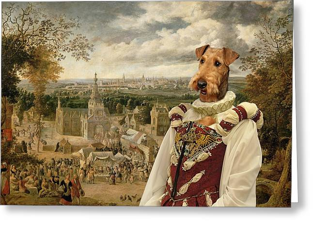 Airedale Terrier Greeting Cards - Airedale Terrier Art Canvas Print Greeting Card by Sandra Sij