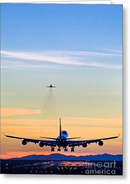 North Vancouver Greeting Cards - Airplane Landing, Canada Greeting Card by David Nunuk