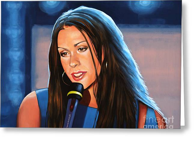 Hand In Pocket Greeting Cards - Alanis Morissette  Greeting Card by Paul Meijering