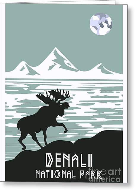 Harts Digital Greeting Cards - Alaska Denali National Park Poster  Greeting Card by Celestial Images