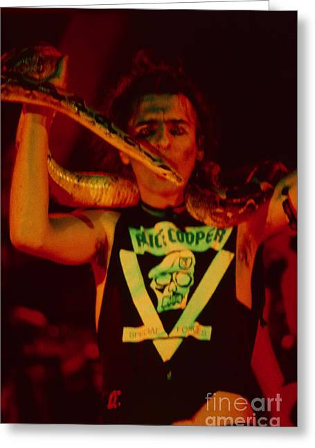 80s Greeting Cards - Alice Cooper at the Concord Pavillion Greeting Card by Daniel Larsen