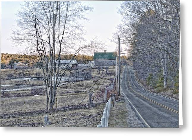 Old Maine Barns Greeting Cards - All Roads Lead To Where We Go Greeting Card by Richard Bean