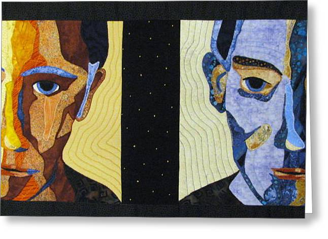 People Tapestries - Textiles Greeting Cards - Alternate Universe Greeting Card by Lynda K Boardman