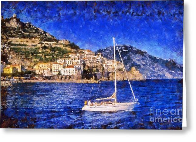 Houses Greeting Cards - Amalfi town in Italy Greeting Card by George Atsametakis