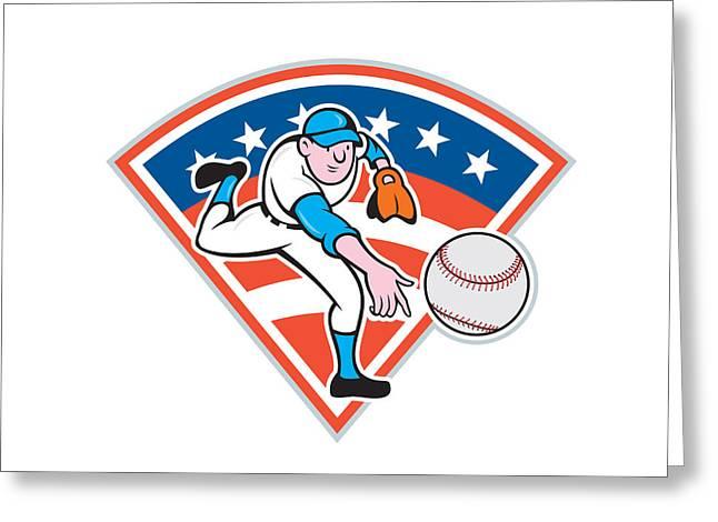 Throwing Digital Greeting Cards - American Baseball Pitcher Throwing Ball Cartoon Greeting Card by Aloysius Patrimonio