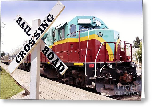 1980s Greeting Cards - American Diesel Locomotive Greeting Card by Tony Craddock