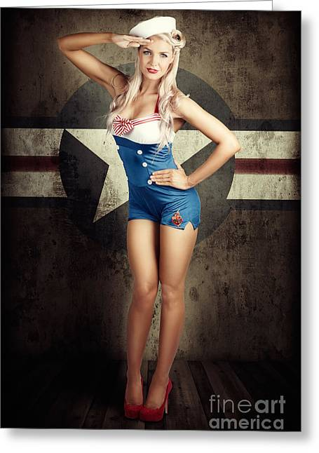American Fashion Model In Military Pin-up Style Greeting Card by Jorgo Photography - Wall Art Gallery