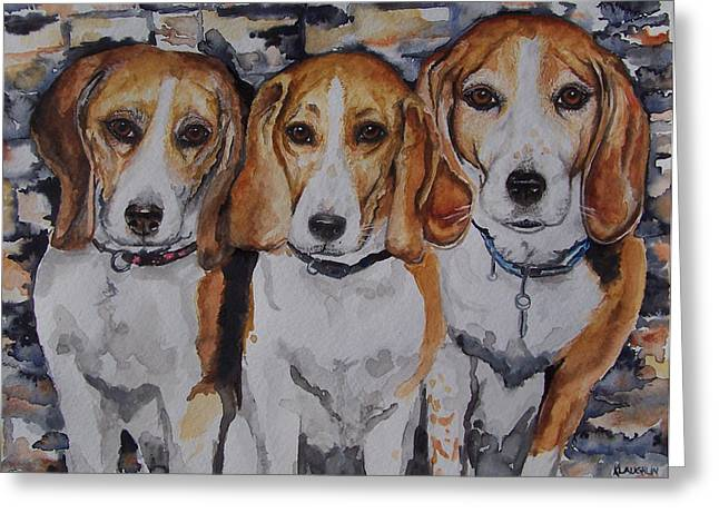 Recently Sold -  - Puppies Paintings Greeting Cards - 3 Amigo Beagles Greeting Card by Kathy Laughlin