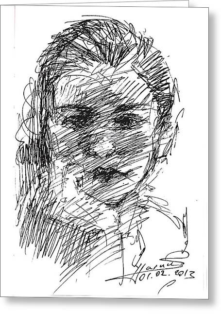 Heads Drawings Greeting Cards - Ana Greeting Card by Ylli Haruni