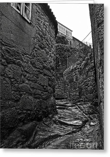 Old Street Greeting Cards - Ancient street in Tui BW Greeting Card by RicardMN Photography