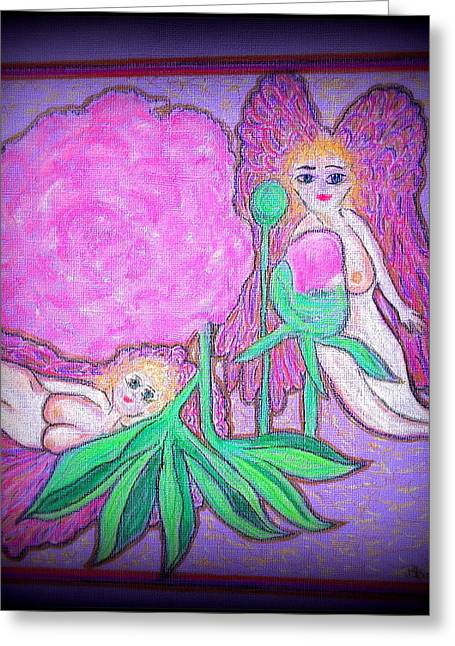 Virgin Mary Pastels Greeting Cards - Angels in The Peony Roses  Greeting Card by Lyn Blore Dufty